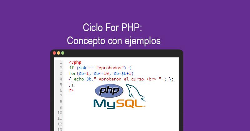 Ciclo For PHP Concepto con ejemplos