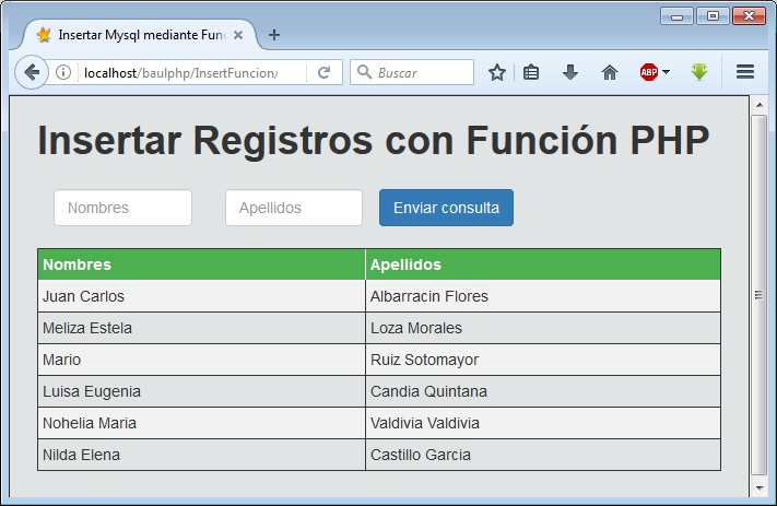 Insertar Registros con función PHP