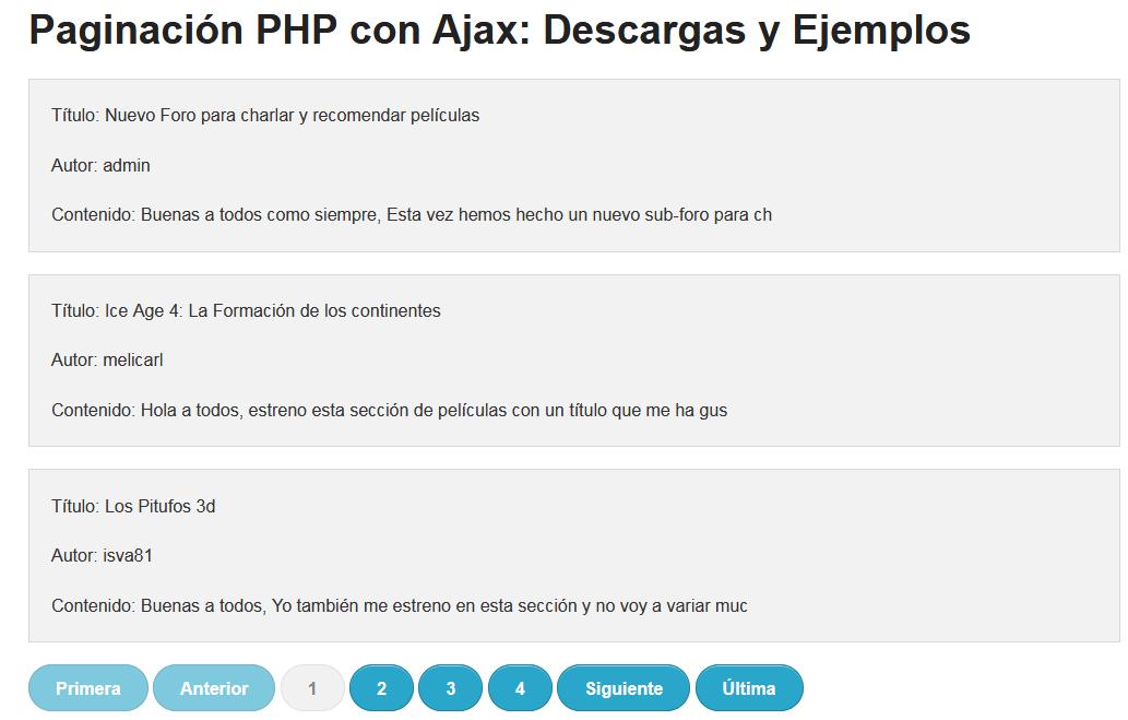 Paginacion PHP y Ajax