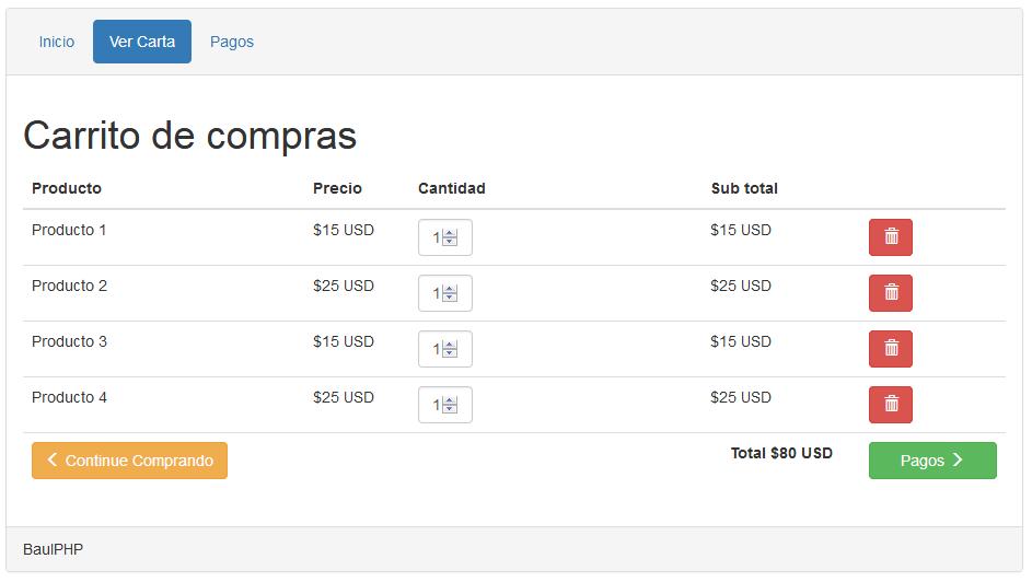 Descargar Sencillo carrito de compras con php