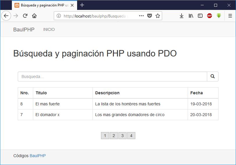 Descargar búsqueda y paginación PHP con PDO