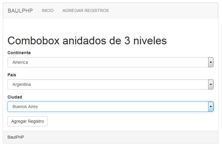 Combobox 3 niveles