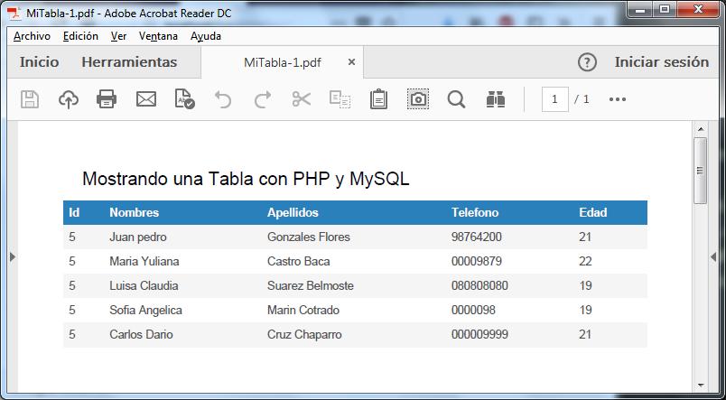 Descargar Crear PDF con PHP y MySQL