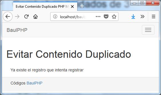 Descargar evitar registro duplicado PHP y MySQL