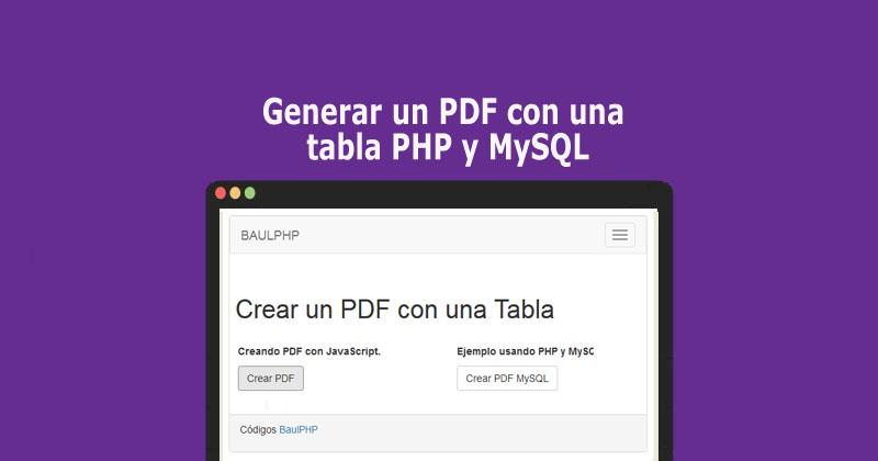 Generar un PDF con una tabla PHP y MySQL