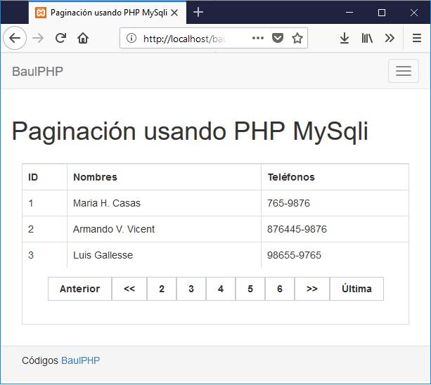 Descargar paginación usando PHP