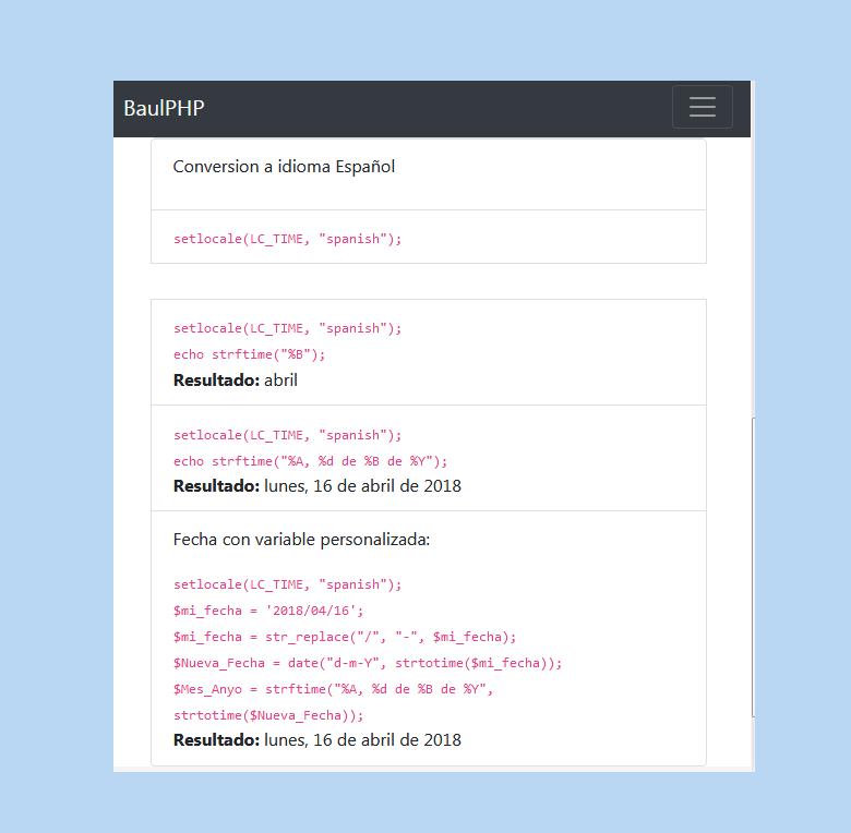 Convertir fecha a español con php