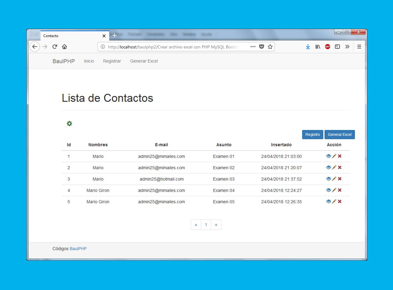 Crear archivo excel con PHP MySQL Bootstrap