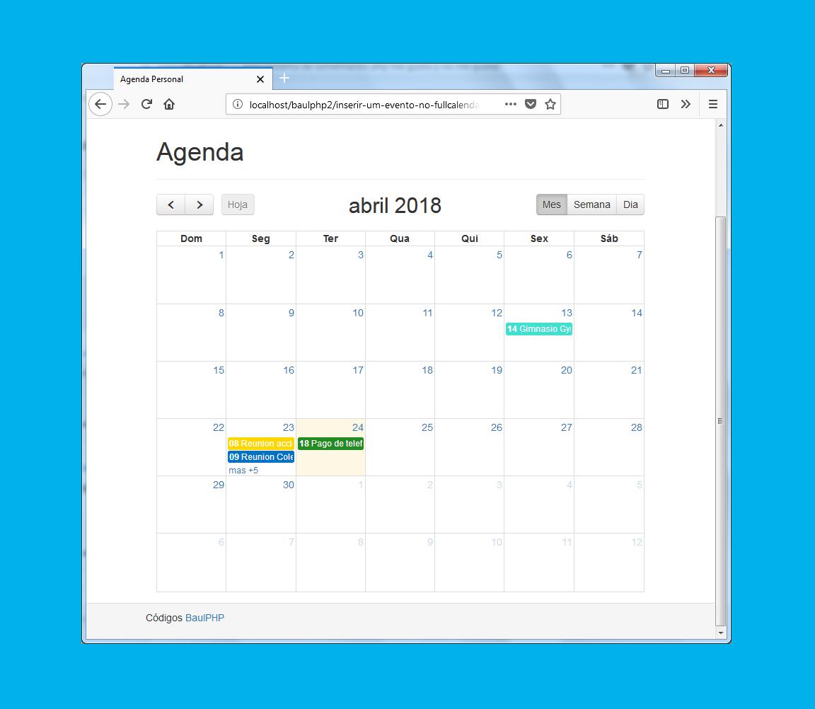 Crear un evento con fullcalendar jQuery PHP