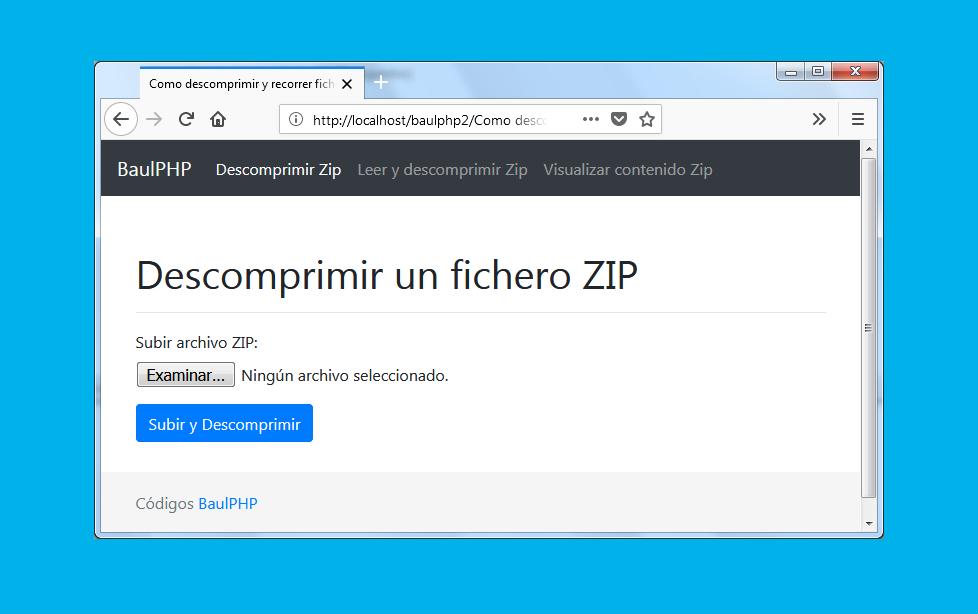 Descargar descomprimir ficheros ZIP con PHP