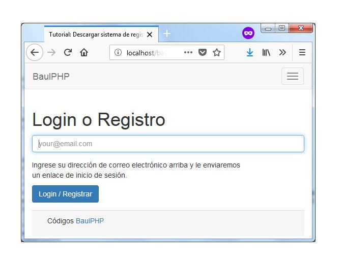 Descargar sistema de registro simple con PHP y MySQL