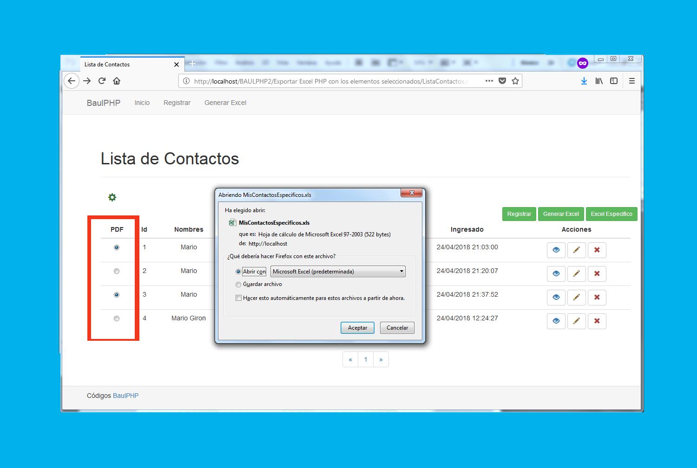 Exportar Excel PHP con los elementos seleccionados