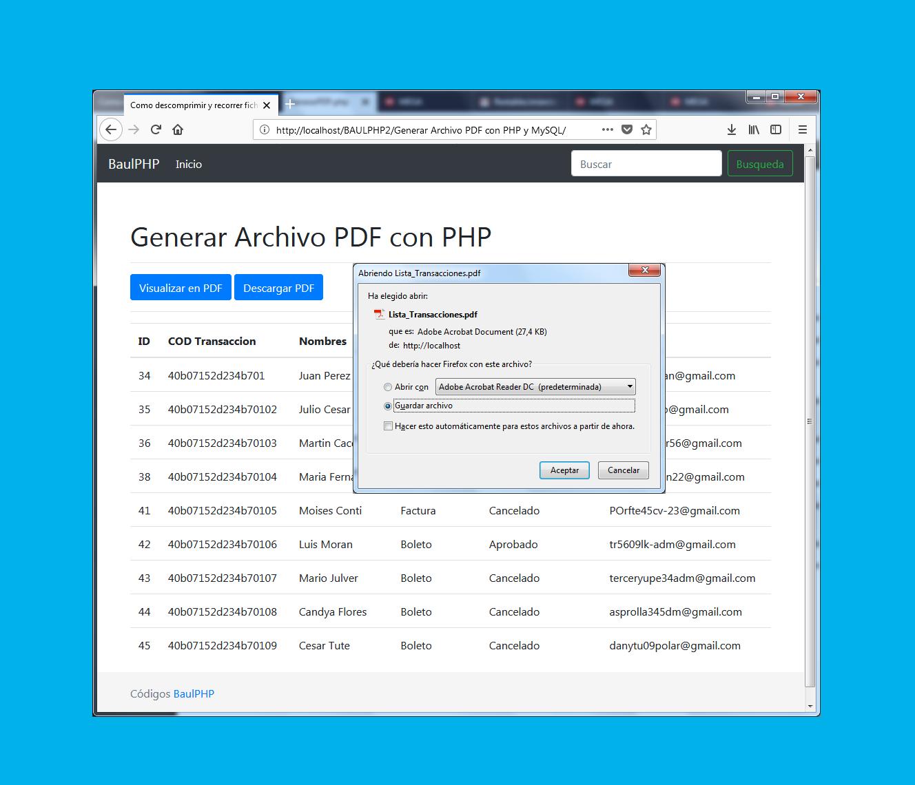 Generar Archivo PDF con PHP y MySQL