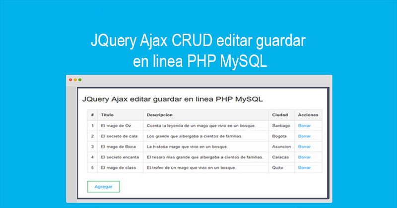 Photo of JQuery Ajax CRUD editar guardar en linea PHP MySQL