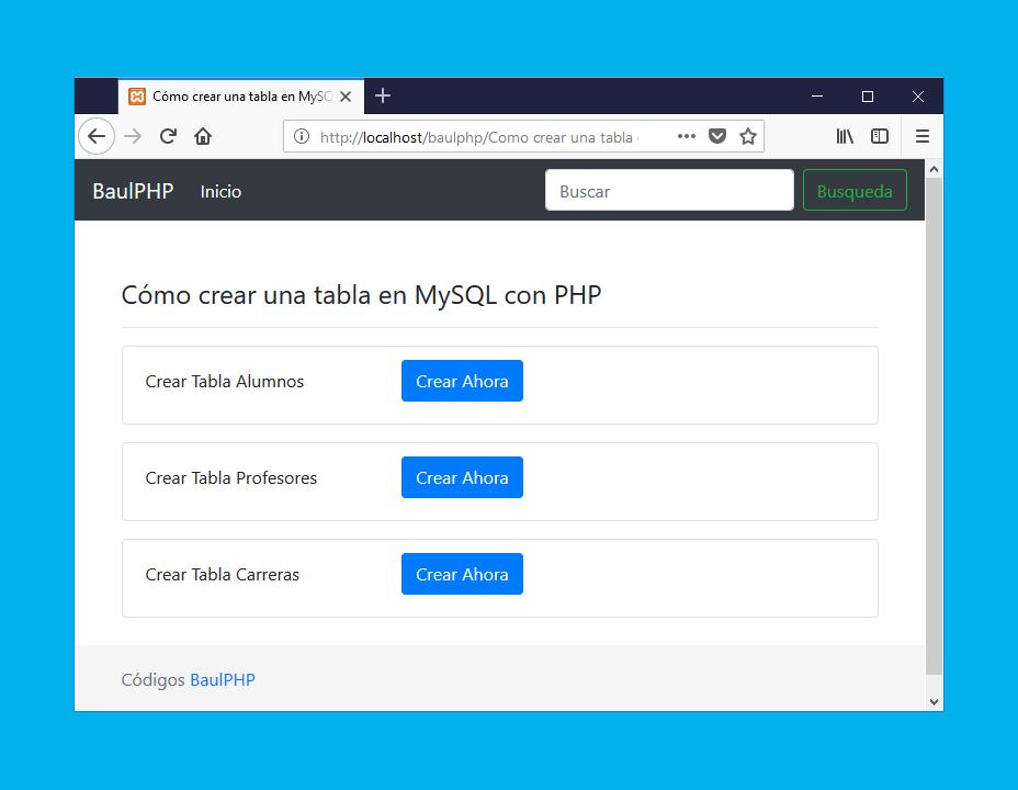 Descargar 3 formas de crear tablas MySQL PHP