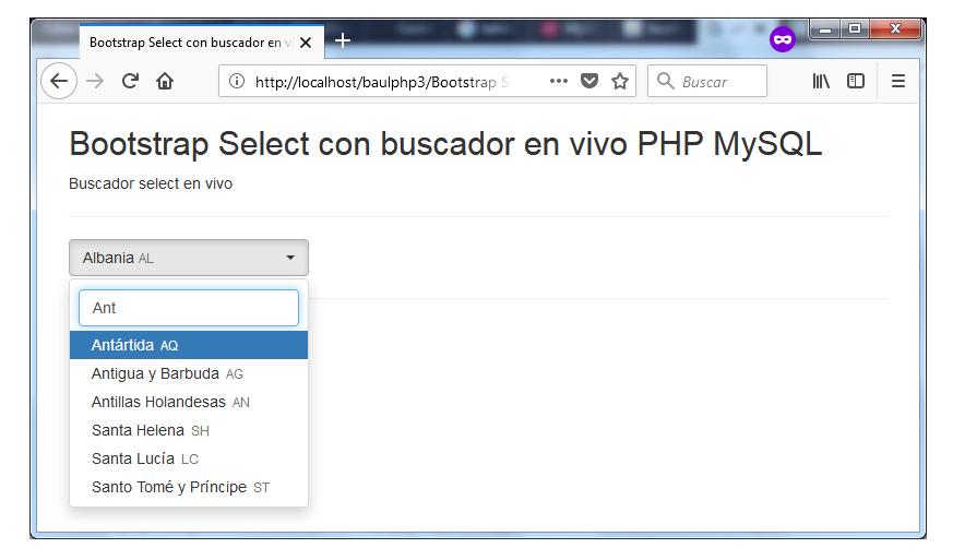 Descargar buscador select BootStrap con PHP y MySQL