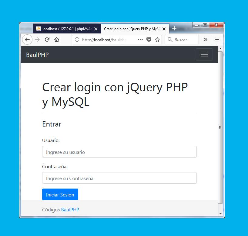Descargar login con jQuery PHP y MySQL - BaulPHP