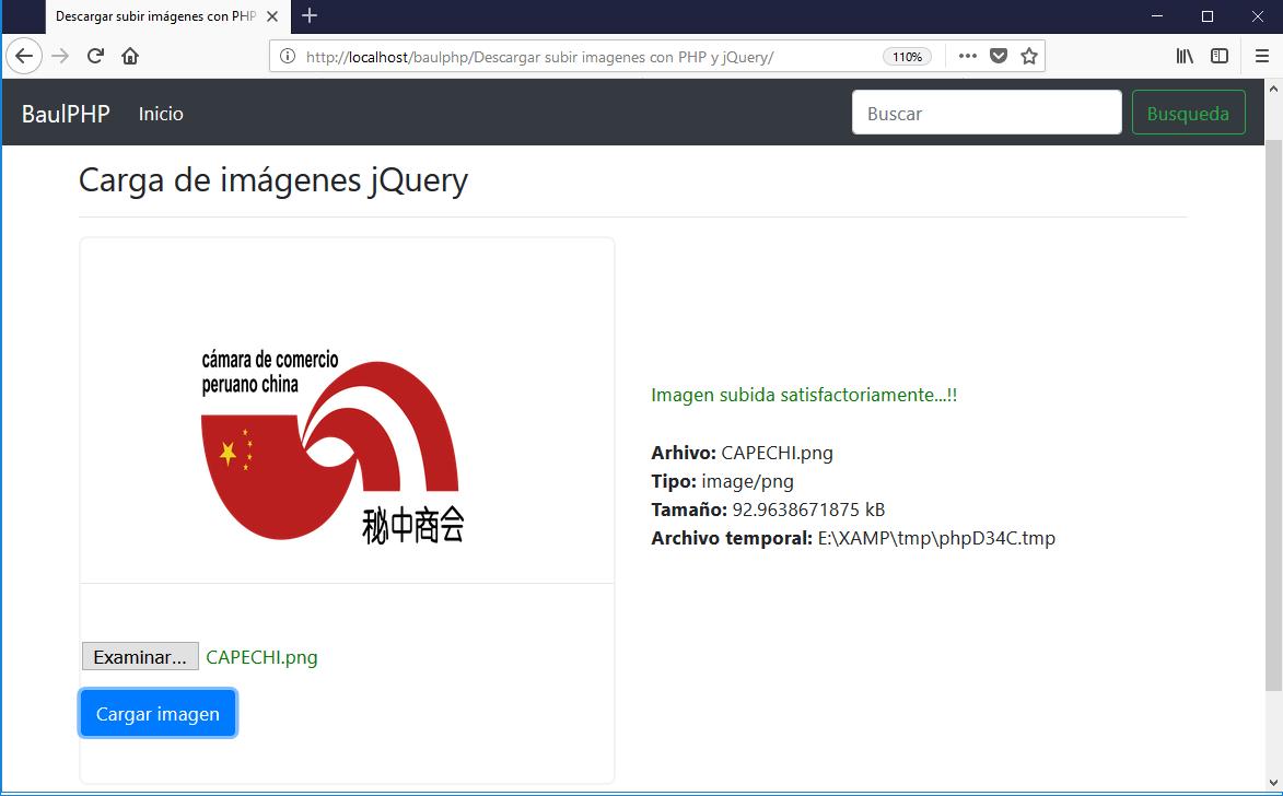 Descargar subir imagenes con PHP y jQuery