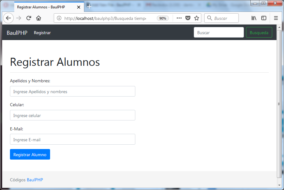 Registrar alumnos para buscador PHP jQuery