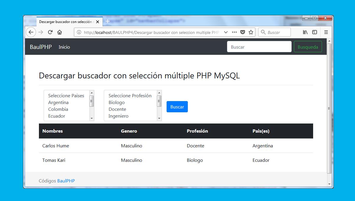 Descargar buscador con selección múltiple PHP MySQL