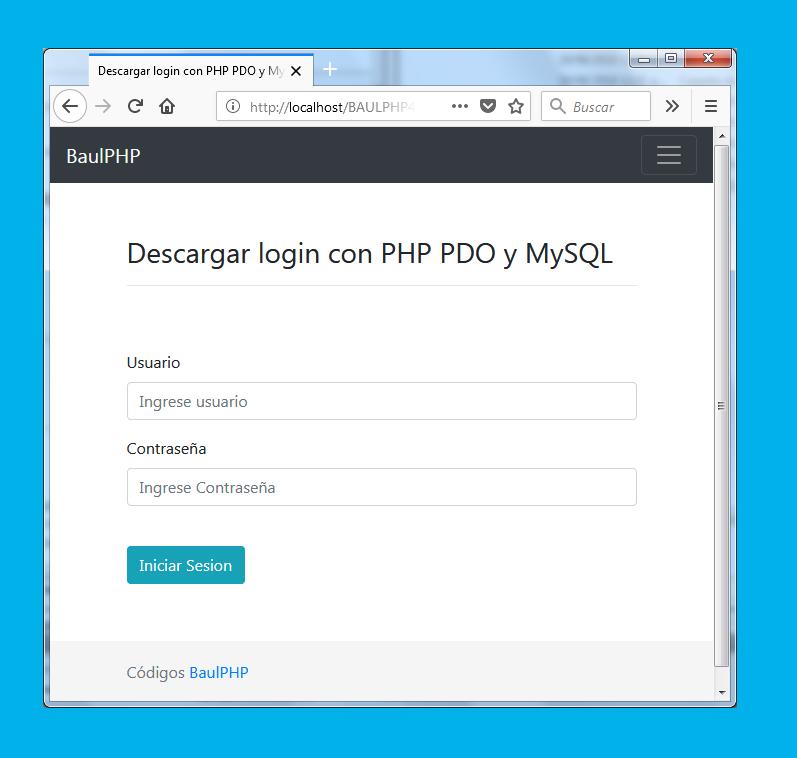 Descargar login con PHP PDO y MySQL