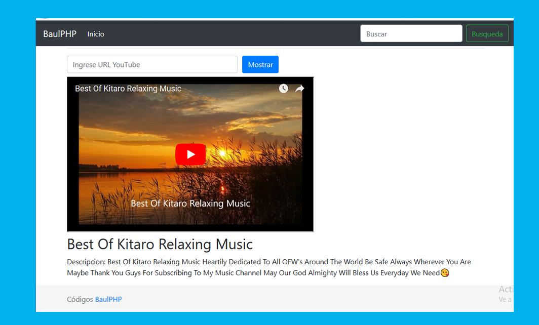 Extraer título y descripción con PHP Youtube API KEY