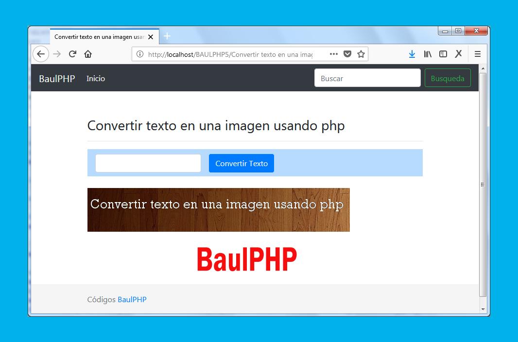 Convertir texto en imagen usando php