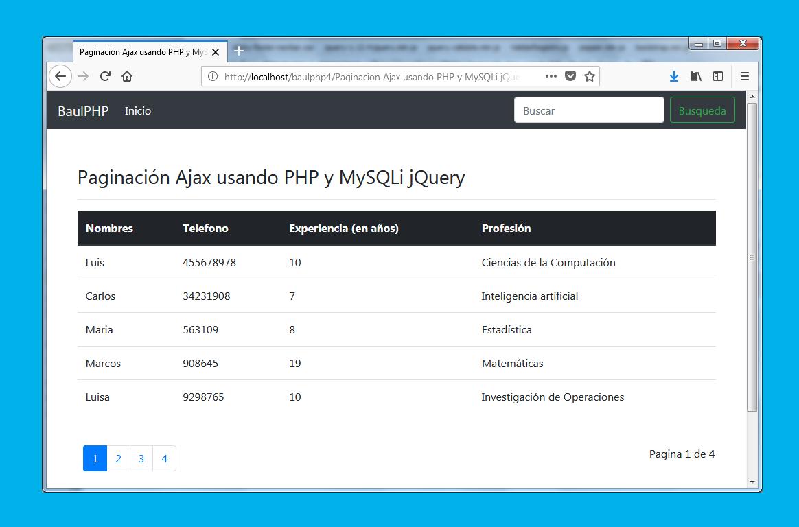 Paginación Ajax usando PHP y MySQLi jQuery