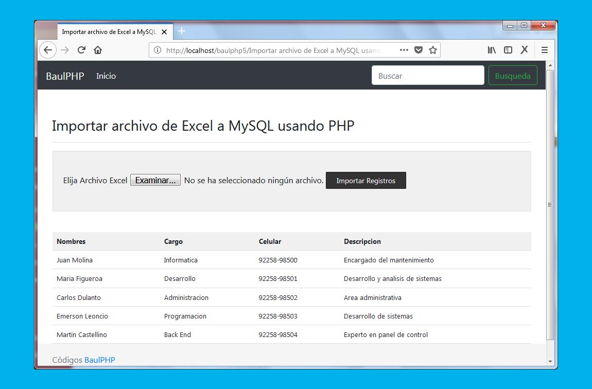 Poblar una tabla MySQL con un archivo Excel