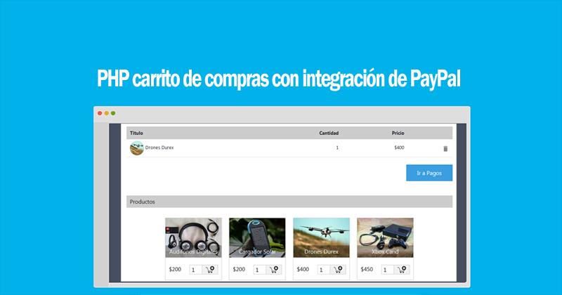 PHP carrito de compras con integración de PayPal