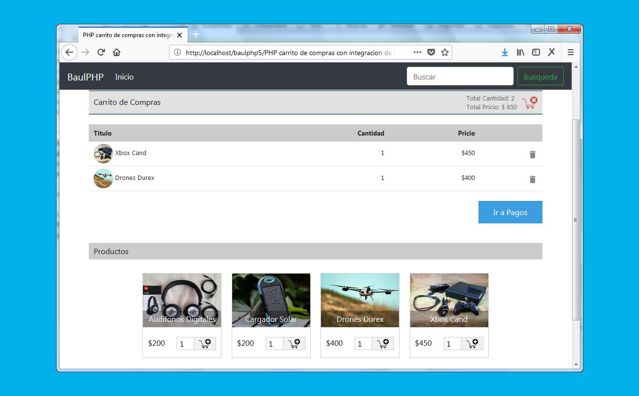 PHP Shopping Cart con pasarela de pago Paypal