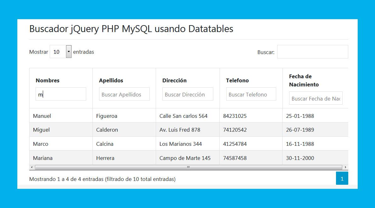 Buscador online por columna usando DataTables