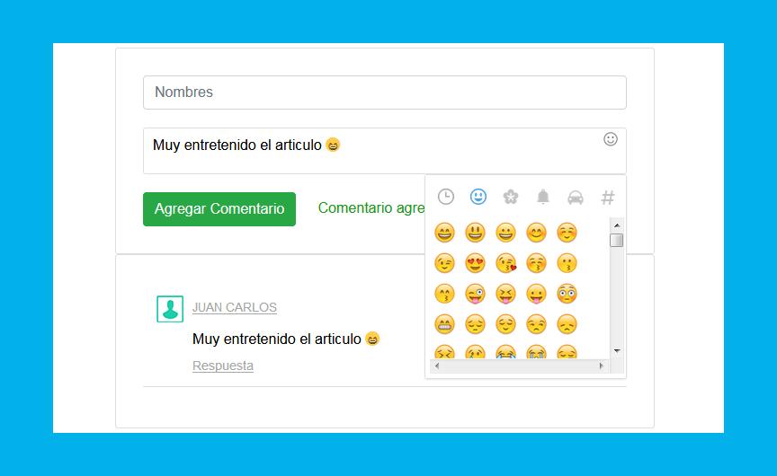 Sistema comentarios con emojis PHP