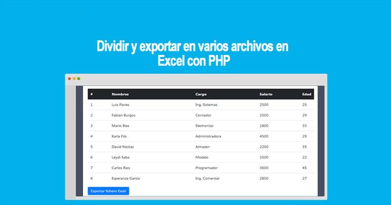 Dividir y exportar en varios archivos en Excel con PHP