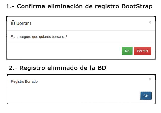 Confirma eliminacion registro con Bootstrap