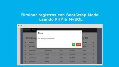 Eliminar registros con BootStrap Modal usando PHP & MySQL