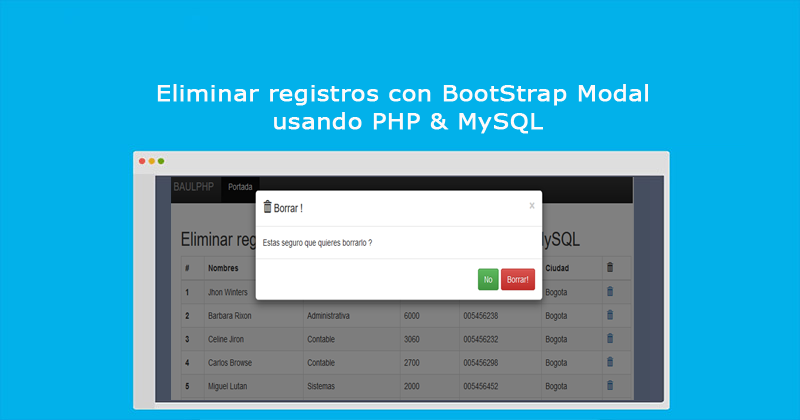 Photo of Eliminar registros con BootStrap Modal usando PHP & MySQL