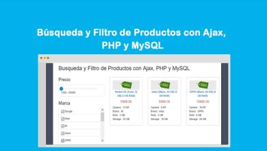 Búsqueda y Filtro de Productos con Ajax, PHP y MySQL