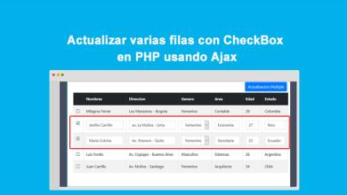 Actualizar varias filas con CheckBox en PHP usando Ajax
