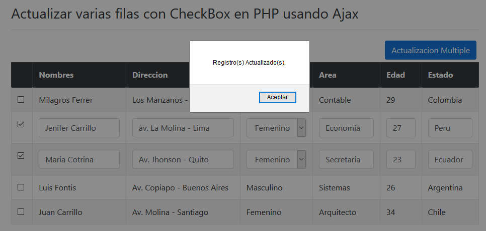 Registros multiples guardados PHP jQuery