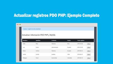 Actualizar registros PDO PHP Ejemplo Completo