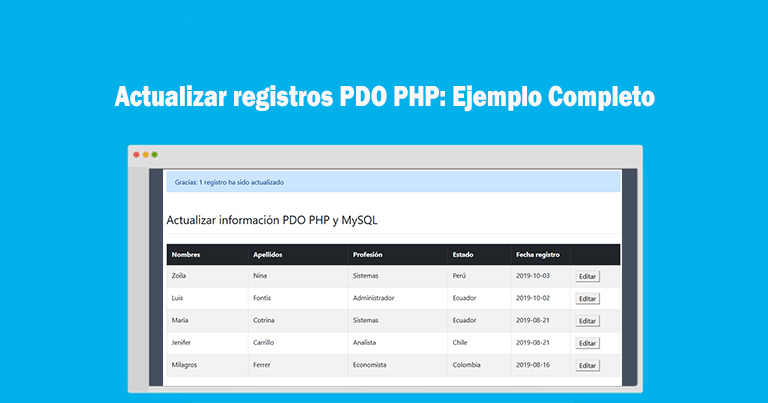 Photo of Actualizar registros PDO PHP: Ejemplo Completo