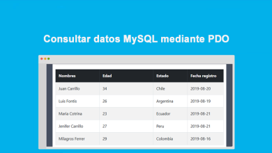 Consultar datos MySQL mediante PDO