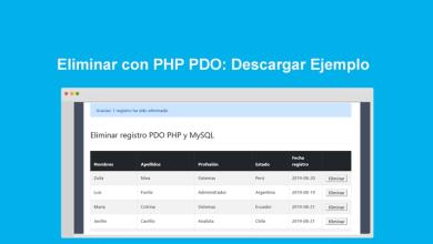 Eliminar con PHP PDO Descargar Ejemplo completo