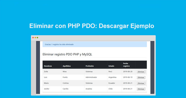 Photo of Eliminar con PHP PDO: Descargar Ejemplo completo
