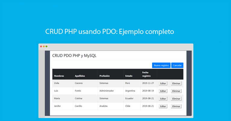 Photo of CRUD PHP usando PDO: Ejemplo completo