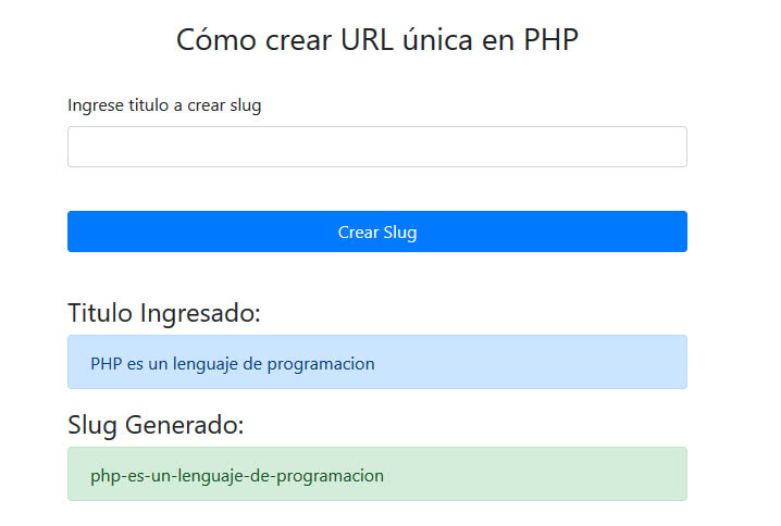 Url Unica PHP