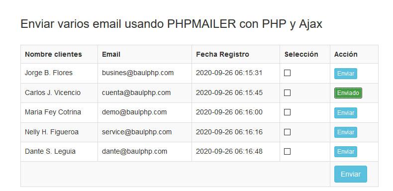 Email enviado con PHP Ajax MySQL