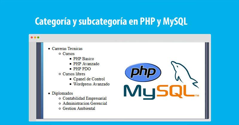 Categoría y subcategoría en PHP y MySQL