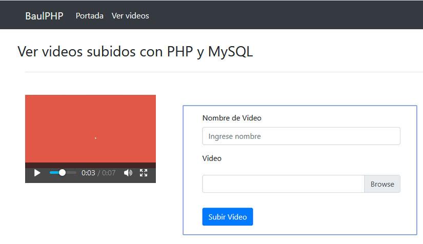 Cargue y almacene videos en MySQL PHP [Completo]